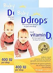 Ddrops 400 IU儿童滴剂,2件装,90滴,2.5毫升,0.08盎司(约2.26克)