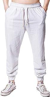 kaimimei 男式亚麻沙滩裤夏季宽松休闲裤轻质抽绳瑜伽慢跑裤