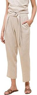 MOON RIVER 女式亚麻扣腰带系带长裤
