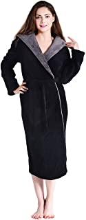 FINDOUX 女式长毛绒睡袍带帽软羊毛长袍厚浴袍温暖毛绒睡衣