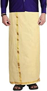 Stylesindia 涤棉优质婚礼双层 Dhoti Vesti Mundu(1.30 X 3.60 米-Sandal)
