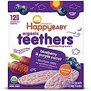 Happy Baby 禧贝 宝宝温和磨牙饼干 蓝莓葡萄胡萝卜 出牙期宝宝的易溶解米饼 无麸质 12个装 6包