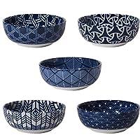Minoru 陶器 小碗 5種圖案 φ13×H5cm 美濃燒 緣起紋 小碗 M 無蓋子 5種圖案套裝 5個裝