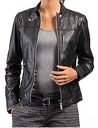 Geniune 黑色皮夹克 | 女式机车夹克 | 女士小羊皮皮夹克