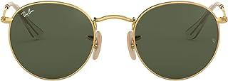 Ray-Ban 雷朋男士圆形扁平金属太阳镜,金色