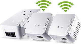 Devolo dLAN 550 WiFi网络套件电力线三重包,300 Mbps over WiFi,1x电力线适配器带2个LAN端口,2个WiFi中继器带1个LAN端口,PLC网络适配器,WLAN Booster,whole home wifi,白色