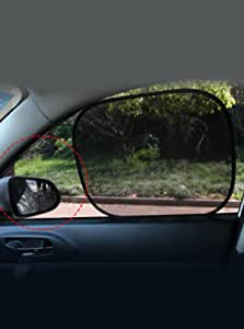 汽车车窗遮光罩(4 件装) 50.80 厘米 x 30.48 厘米 汽车车窗遮阳太阳眩光紫外线保护儿童宠物,婴儿侧窗单向透视易存放静电吸附