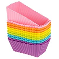 Freshware CB-308SC 迷你长方形蛋糕和松饼硅胶烤杯,可重复使用(12 只装,6 种活力色彩)