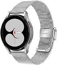 TRUMiRR 表带适用于 Galaxy Watch 4 40 毫米 44 毫米黑色男士女士网眼编织不锈钢表带快速释放表带适用于三星 Galaxy Watch4 经典 42 毫米 46 毫米智能手表