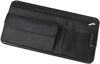 OYOCAM 汽车遮阳板收纳箱 汽车内饰配件 口袋收纳箱 卡车收纳袋 带多口袋网拉链 用于卡片 注册文件 笔钥匙太阳镜