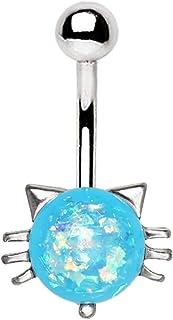 穿孔猫头鹰蓝色合成蛋白石猫猫肚脐环 316L 不锈钢