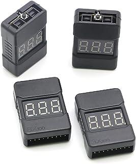 BX100 LiPo 电池检测器,RC 1-8S 电池电压测试仪低电压蜂鸣器报警带 LED 指示灯,带双扬声器的电压检查器(4 件装)