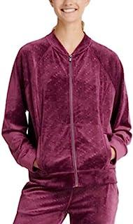 DKNY 运动丝绒标志印花飞行员夹克 Sangria XL 紫色