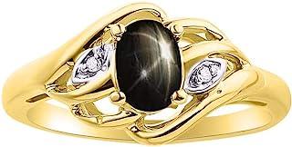 RYLOS 女士戒指 椭圆形宝石 & 正品闪亮钻石 14K 黄金镀银 .925-6X4MM 彩色宝石诞生石戒指