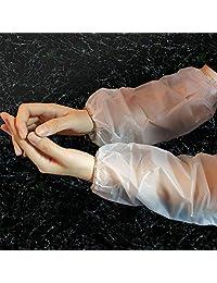 SAFERUN防护 PVC防水护臂套(10组套装) 全长约39cm 半透明白 袖口污渍和防水功能 厚度0.15mm ※并非完全防水。