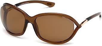 Tom Ford FT0008 Jennifer 女式几何太阳镜 + 免费赠送眼镜套装 Transparent Dark Brown / Polarized Brown 61