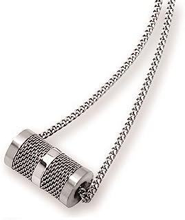 波士顿湾钻石男士不锈钢管状吊坠带网格表面,60.96cm 锁链