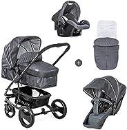 Hauck Pacific 4 Shop N Drive 组合婴儿车 6 件套 至 25 千克 婴儿提篮 可转换为可逆的座椅,带护腿套 轻便超大轮子 混色炭色 (灰色)