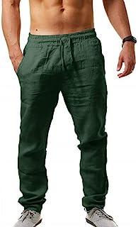 MorwenVeo 男式亚麻裤休闲长裤 - 宽松轻质抽绳瑜伽沙滩裤休闲长裤 - 6 种颜色