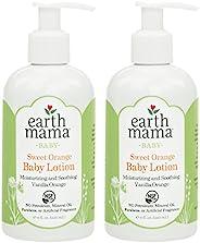 Earth Mama 甜橙宝宝身体乳 含金盏花 8液体盎司(240ml) 两个装