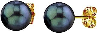 珍珠球 14K 金圆形黑色养殖 Akoya 耳钉女士珍珠耳环