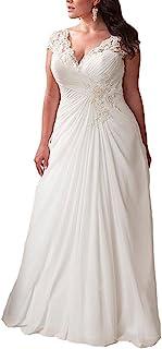 YIPEISHA 女式优雅贴花蕾丝婚纱 V 领加大码海滩新娘礼服