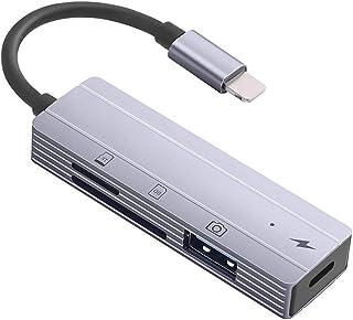 SD/TF 读卡器带双卡槽,适用于 iPhone 、USB 相机 OTG 电缆适配器适用于 iPad 支持快速充电,支持 Micro SD 存储卡,USB 闪存驱动器,鼠标,键盘...