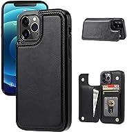 JOYAKI 钱包式手机壳兼容 iPhone 12 Pro max,超薄保护套带卡槽,高级 PU 皮革支架卡槽保护套,带双磁性搭扣,适用于 iPhone 12pro max(6.7 英寸)- 黑色