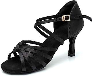RoseMoli 女式拉丁舞鞋缎面专业交际舞厅萨尔萨练习表演舞鞋 黑色 - 2.8 英寸(约 7.1 厘米)鞋跟 9