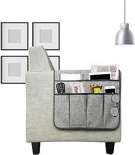 沙发躺椅扶手收纳架收纳架防滑沙发扶手扶手椅Caddie 带 6 个口袋存储杂志节省空间收纳器、平板电脑、手机、iPad、巧克力色(灰色)