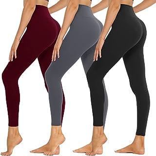 SYRINX 女式高腰打底裤 1/2 条装柔软收腹弹力裤,适合瑜伽跑步锻炼