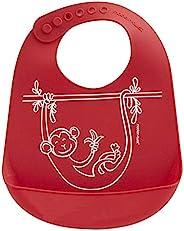 美国 Modern+Twist 婴儿硅胶围兜 顽皮小猴 红色
