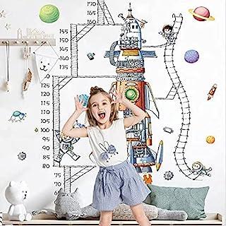 Topflier 婴儿身高成长图墙贴 带太空火箭儿童高度测量尺墙贴 育儿卧室