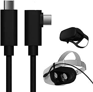 TNE Oculus Quest 2/Quest 16英尺(约4.9米)C 型电缆,适用于链接 PC 游戏和充电   高速数据传输和快速充电器线 90度角 C 型至 C 型电源线(16英尺/5米)