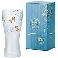 Aderia Premium 日本风 高级金鱼焰火系列 啤酒杯(带起泡功能)蓝色 310ml 礼品盒 6685 日本制造