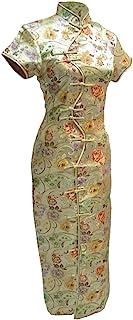 7Fairy 女式性感金色十纽扣长款中国连衣裙旗袍
