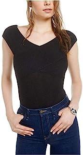 Bar III 女式罗纹针织交叉紧身衣 深黑色 XXL 码