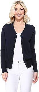 YEMAK 女式长袖 V 领系扣软针织开衫毛衣