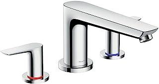 Hansgrohe 汉斯格雅 Talis E 现代单把手 16 英寸(约 40.6 厘米)宽罗马浴缸填充器独立式镀铬浴缸龙头, 71747001