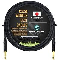 10 英尺 - 吉他低音乐器电缆由 WORLDS *好的电缆定制 - 使用 Mogami 2524 线和Neutrik NP2X-B 1⁄4 英寸 (6.35mm) 直金 TS 连接器