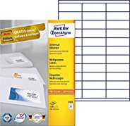 Avery自粘多用途便签 3300 Etiketten 3,300 Etiketten, 70 x 25,4 mm 白色
