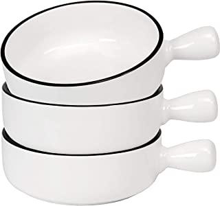 AQUIVER 21 盎司(约 595.3 克)法式洋葱汤碗 – 经典白瓷碗 – 单柄汤、玉米饼、燕麦汤、麦片、鸡派、牛肉炖菜 – 3 件套