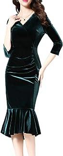 K&S 女式金色天鹅绒长袖修身褶皱圆领连衣裙