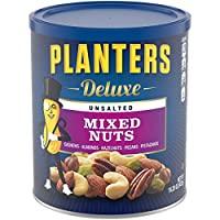 PLANTERS 奢華無鹽混合堅果,15.25盎司/432克,可重新密封的容器| 各種無鹽堅果,包括腰果,杏仁,榛子,開心果和山核桃| 零食分享裝