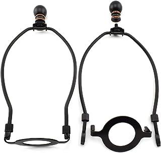 MARRTEUM 8 英寸(约 20.3 厘米)灯罩竖琴支架,带 E26 UNO 灯座底座配件和灯顶端 [2 套,黑色]