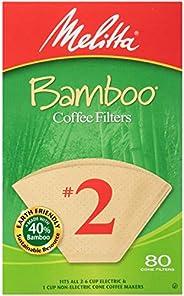 Melitta #2 锥形咖啡过滤器,竹子,80 粒(6 件装)