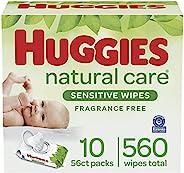 Huggies Natural Care 敏感婴儿湿巾,无味,10 片翻盖包(共 560 张湿巾)