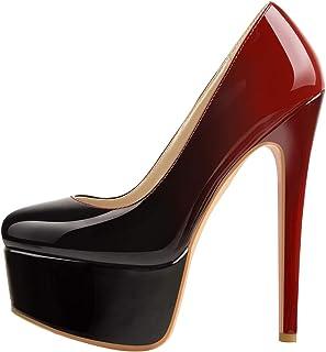 LISHAN 女式超高细高跟防水台一脚蹬尖头高跟鞋