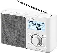 Sony 索尼 XDR-S61D 便携式数字收音机,FM/DAB/DAB+,电台存储,RDS功能,闹钟,电池和电源操作,白色