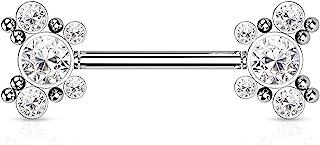 Dynamique 316L *钢无螺纹推入式乳头杠铃,每侧有 5 个方晶锆石蝴蝶和球簇(每对出售或单件)